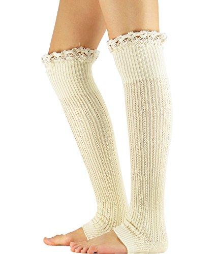 Zando Womens Knitted Lace Trim Boot Cuffs Socks Crochet Long Leg Warmers A-Beige (How To Wear Thigh High Boots)