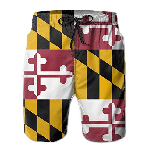 YongColer Men's Hawaiian Beach Shorts Flag of Maryland Printed Swim Trunks Quick Dry Surf Bathing Suit,XXL (Maryland Swim Trunks)