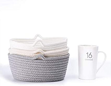 Drawihi Cotton Rope Basket Small Woven Storage Baby Nursery Room Toy Chest Box With Handles Basket-White
