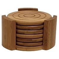 Lipper International 8833 Posavasos redondos de madera de bambú y carrito, juego de 7 piezas