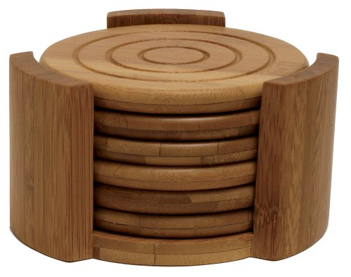 Lipper International 8833 Bamboo Wood Round Coasters and Caddy, 7-Piece Set