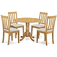 East West Furniture DLAN5-OAK-C 5 Piece Table and 4 Chairs Set