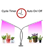 LED Plant Lights Timer(3/9/12 hrs) 3 Light Mode and 5 Level Dimmable Flexible Gooseneck Clip On Grow Lamp for Indoor Plant,Succulent,Herbs,Veg and Flower Hydroponics in Greenhouse,Garden(Silver)