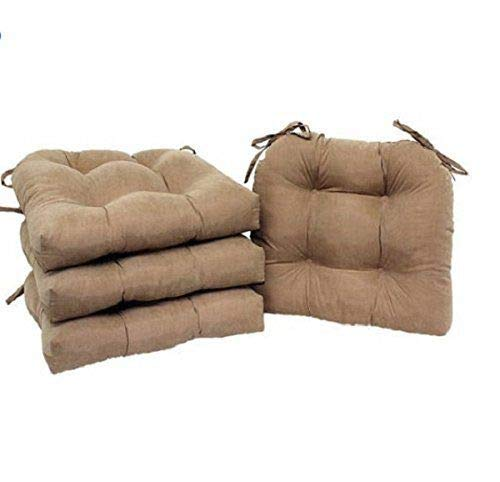 Light Brown Microfiber Cushions - Home Direct Natural Light Brown Set of 4 Dining Chair Cushions Soft Plush Tufted with Ties 14.5 x 16