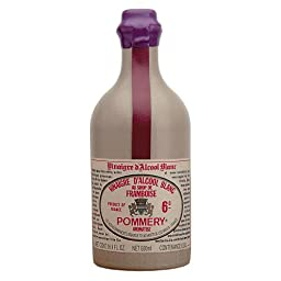 Pommery Aged White Wine Raspberry Flavored Vinegar in Stone Crock Bottle with Wax Seal 16 Oz