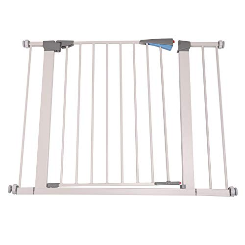 "Walnest 28″ x 30''Wide Indoor Safety Gates Metal Baby Gate Decorative Heavy Duty Ideal for Portico, Doorways or Between Rooms White-Add an Additional 5.5"" to the Width of the Gate for Extra Space Wide"