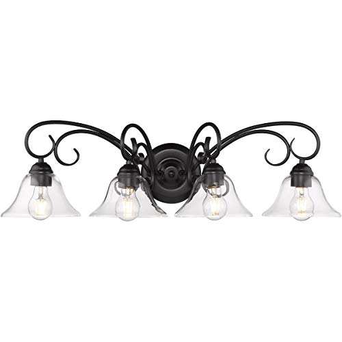 Golden Lighting 8606-BA4-BLK-CLR Homestead 4 Light 32 inch Black Bath Vanity Light Wall Light