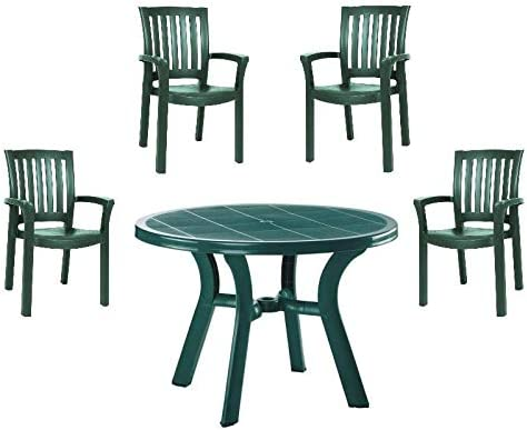 Amazon Com 5 Piece 42 Round Resin Patio Table And 4 Resin Dining Arm Chair Set In Green Garden Outdoor