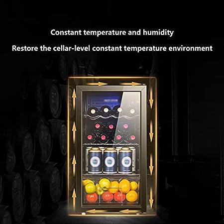 SHENXINCI Vinoteca90 litros De Capacidad, Temperatura Regulable 3~12℃,con Luz LED Azul,Vidrio Templado con Aislamiento Al Vacío de Doble Capa,98W/Adecuado para Oficinas, Clubes de Ocio, Hogares.