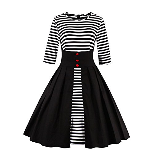 Damen M1335 Cocktail S Vintage EU Retro 50er Schwarz Kleid DISSA Rockabilly 36 qFwR5Anqf