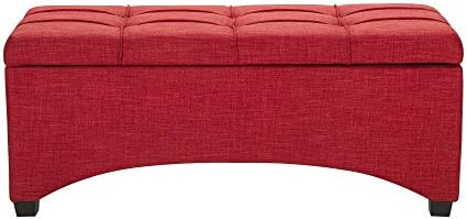 Red Ottoman Storage Bench Organizer Padded Seat Foot Rest Footstool Living Room Relax Bed End Room Bedroom Entryway Hallway Seating Furniture