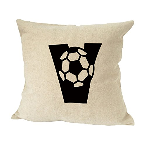 ''V '' Soccer Initial Monogram Letter V Bed Home Decor Faux Linen Pillow Cover by Style in Print