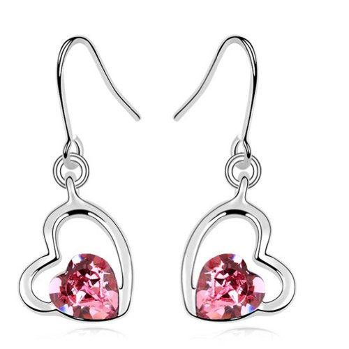 (Latigerf Double Heart Earring White Gold Plated Swarovski Elements Crystal Pink)