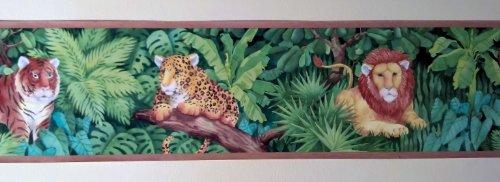 (Jungle Cats Animals Wallpaper Border - Lions, Tigers, Cheetahs - Tan Edge…)