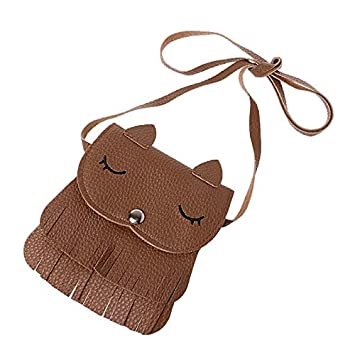 JAGENIE Lovely Kids Girl Cute Tassel Small Fox Messenger Shoulder Bag Crossbody Purses Brown