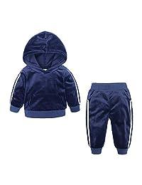KIDS TALES Boys Girls 2Pcs Velvet Hooded Tracksuit Top + Sweatpants Outfits Set(12M-8T)