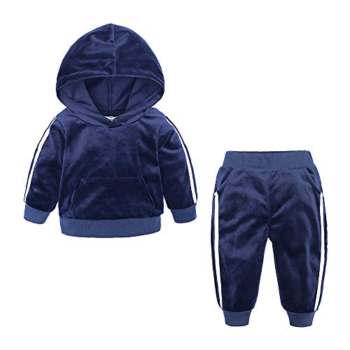 - Kids Tales Boys Girls 2Pcs Velvet Hooded Tracksuit Top + Sweatpants Outfits Set(12M-8T) Blue