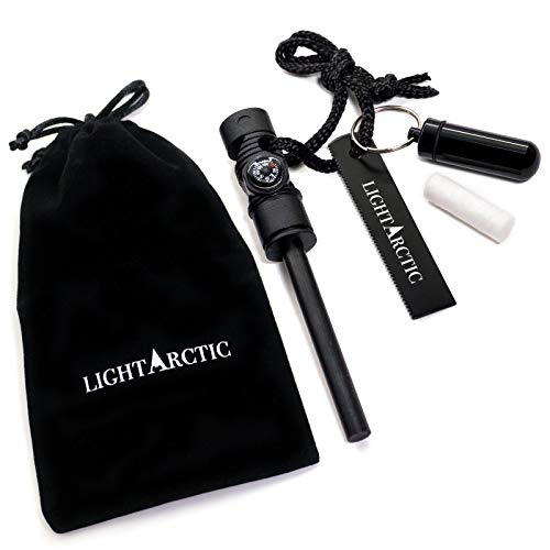 (LightArctic Magnesium Fire Starter Survival Multi-Tool with Tinder. Best for Campfires, Emergency Kit, Camping and Hiking Gear. Built-in Compass and Whistle, Waterproof Aluminum Capsule, Cloth Bag)