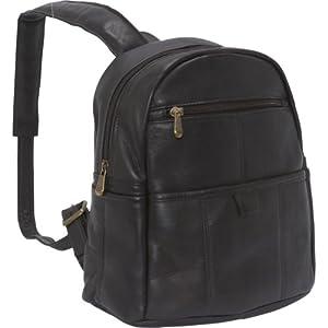 Le Donne Leather Quick Slip Womens Backpack (Café)