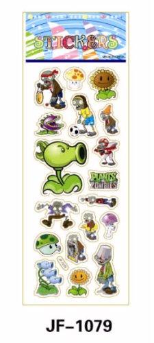 TY0007(JF-1079) Plants Zombies Stickers, Soft Vinyl Plastic Non-Toxic Kid Stickers, 2 Pcs