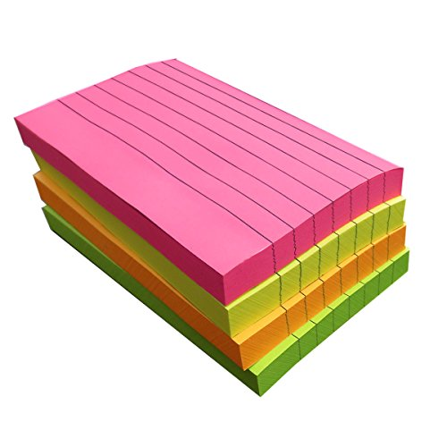 (Creatiburg Sticky Notes with Lines 3x5 inches 4 Assorted Bright Color Sticky Ruled Index Card Lined Self-Stick Notes, 100 Sheet/Pad 4 Pads/Pack, Easy Post Notes Individually Wrapped)