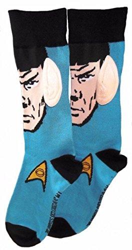 [Star Trek Spok W/ Ears Adult Crew Socks] (Spok Ears)