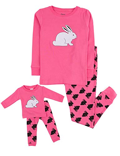 Leveret Kids & Toddler Pajamas Matching Doll & Girls Pajamas 100% Cotton (Bunny Rabbit,Size 6 -