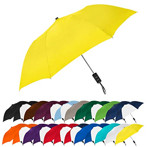 "STROMBERGBRAND UMBRELLAS Spectrum Popular Style 15"" Automatic Open Umbrella Light Weight Travel Folding Umbrella for Men and Women, (Yellow)"