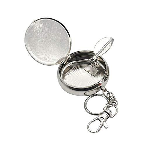 BianchiPamela 1 ST/ÜCK Tragbarer Taschenaschenbecher Mini Edelstahl Aschenbecher mit Schl/üsselanh/änger