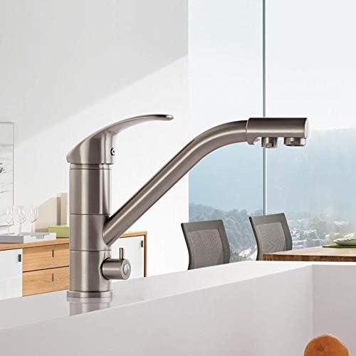 キッチン蛇口 キッチン浄水360度回転シングルハンドルダブルホール温水と冷水のシンクの蛇口 (色 : 銀, サイズ : ワンサイズ)