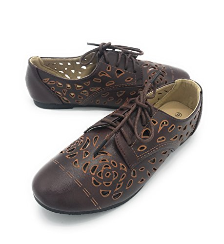 Blue Berry EASY21 Women's Casual Flats Ballet Fashion Shoes Faux Leather (7 B(M) US, Brown-25)