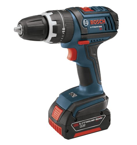 Bosch HDS181-01 18-Volt Lithium-Ion 1/2-Inch Compact Tough Hammer Drill/Driver Kit with 2 High Capacity Batteries, Charger and Case