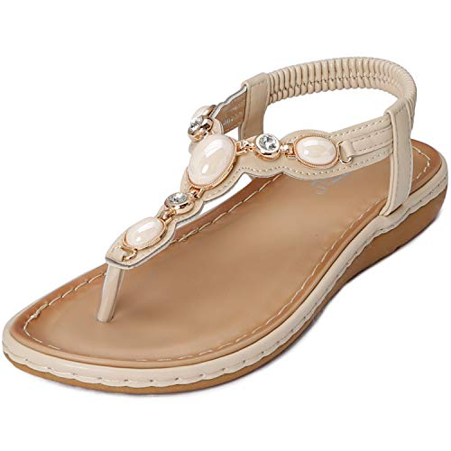 WESIDOM Women Flat Sandals,Rhinestone T-Strap Elastic Strap Rubber Sole Shoes for Summer(Apricot US 7) -