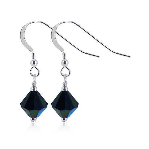 Gem Avenue Sterling Silver Handmade Bicone Swarovski Elements Black Crystal Drop Earrings for Women