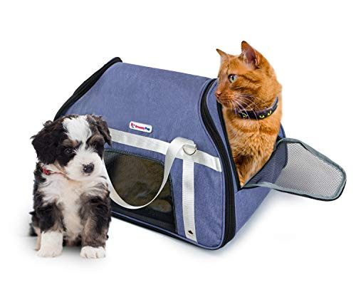 DreamyPup Soft Pet Carrier for Dogs and Cats (Airline Approved) Expandable Bag w/Breathable Mesh Windows | Soft, Dual-Sided Entry | Spacious, Comfortable Travel (Blue)
