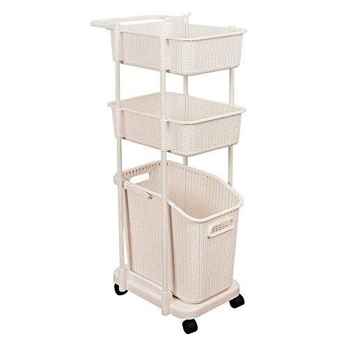 3 Tiered Rolling Cart Versatile Plastic Laundry Basket Cart with Wheels Clothing Bin Toy Basket Snack Organizer Decorative Laundry Hamper Space Saving Heavy Duty Steel Frame Adjustable & Sweet Beige