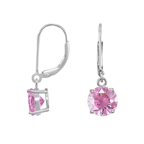 Rhodium Plated Sterling Silver Basket Setting 8mm Brilliant Round Pink CZ Leverback Dangle Earrings