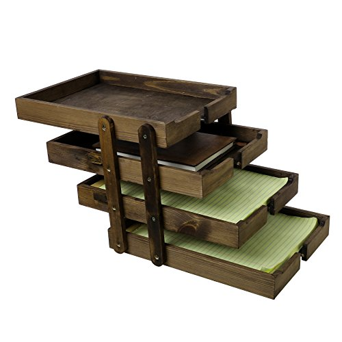 4 Tier Collapsible Vintage Wood Document Tray Organizer, Expandable Office File Holder, Brown (Vintage Desk Organizers)