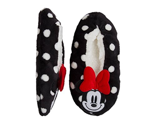 - Disney Minnie Mouse Mickey Mouse Womens Polka Dot Slipper Socks with Bow (M/L 8-10) Black
