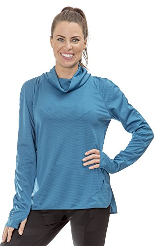 (L3202W) Layer 8 Womens Long Sleeve Wicking Cold Weather Runnning Shirt in Seaport Size: L