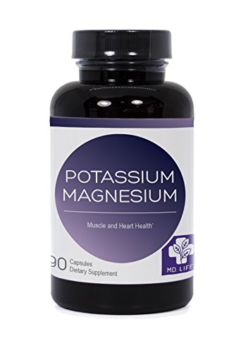 MD.LIFE Potassium Magnesium 90 Capsules Mineral for Vascular Function to Support Heart, Muscular, and Nerve Health