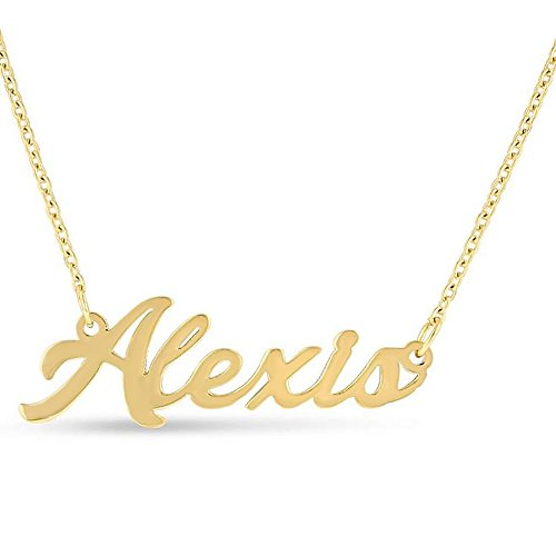 Brass Yellow Necklace - LAOFU Personalized English Name Necklace Pendant Yellow Gold Plated Over Brass, Gift To Her (Alexis)