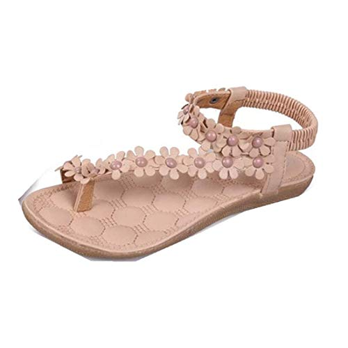 - Women Sandals,Duseedik Clearance!!Summer T-Strap Flip Flops Flower Beaded Elastic Slip on Flat Sandals Bohemia Beaded Flat Shoes for Dress Beach (Khaki, US:8(CN:39))