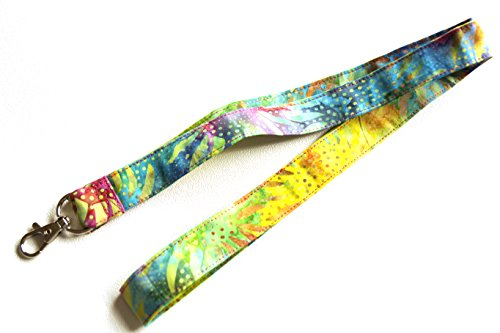 Batik Rainbow Floral Fabric Lanyard or ID Badge Holder Rainbow Batiks