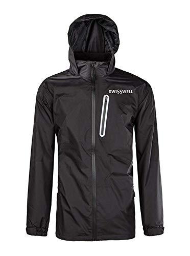 GEEK LIGHTING Men's Waterproof Rain Jacket, Lightweight Front Zip Hooded Raincoat (Black, Medium)