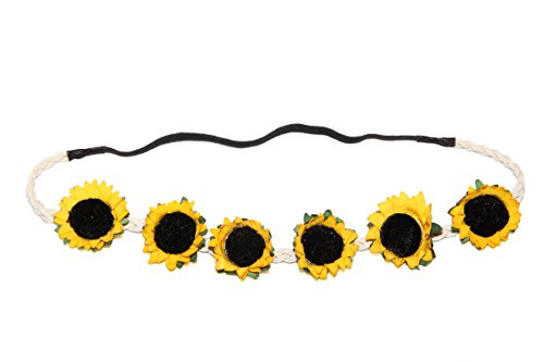 Price comparison product image Lux Accessories Braided Sunflower Stretch Coachella Headband