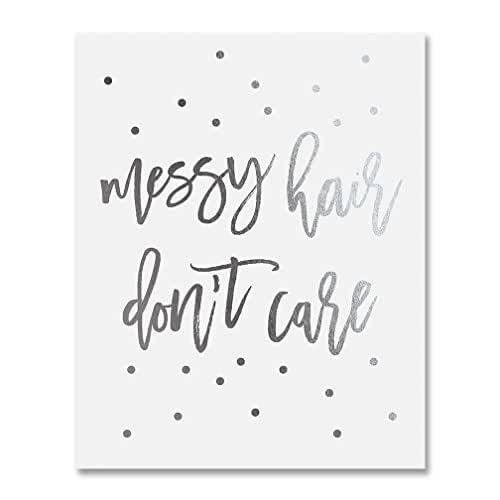 Amazon Com Messy Hair Dont Care Silver Foil Decor Home Girly Wall