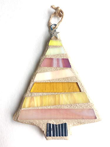 Christmas Ornament, Stained Glass Mosaic Tree-PINK (Christmas Tree Mosaic)