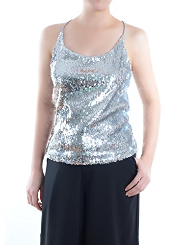 Anna-Kaci Womens All Over Shiny Sequin Spaghetti Strap Vest Tank Top, Silver, XX-Large