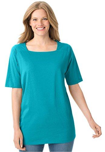 Women's Plus Size Perfect Square Neck Tee Shirt Aquamarine,1X